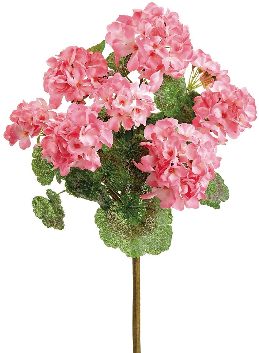 TenWaterloo 18 Inch UV Protected Geranium Bush, Pink, One Artificial Floral Stem, Indoor/Outdoor Use
