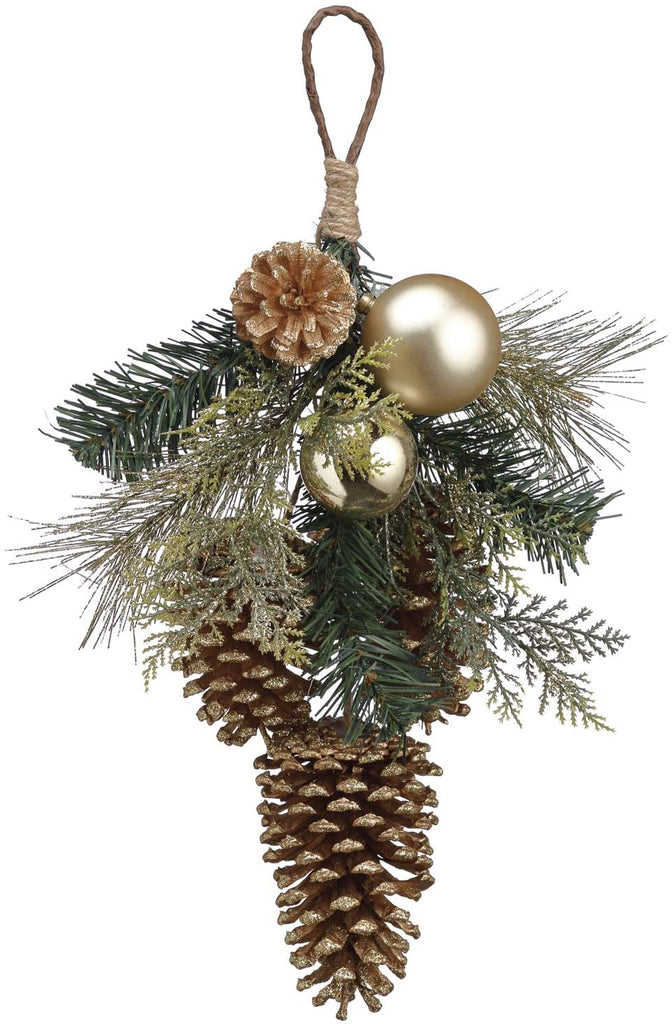 TenWaterloo 16 Inch Gold and Cedar Christmas Door Hanger with Pine Cones and Ornaments, Artificial Pine with Silver Ornaments