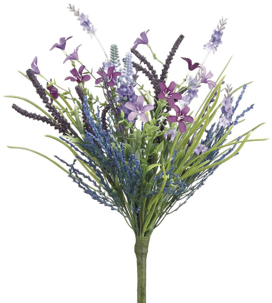 Set of 3 Artificial Lavender and Fern Bouquets with Spring Wild Flowers