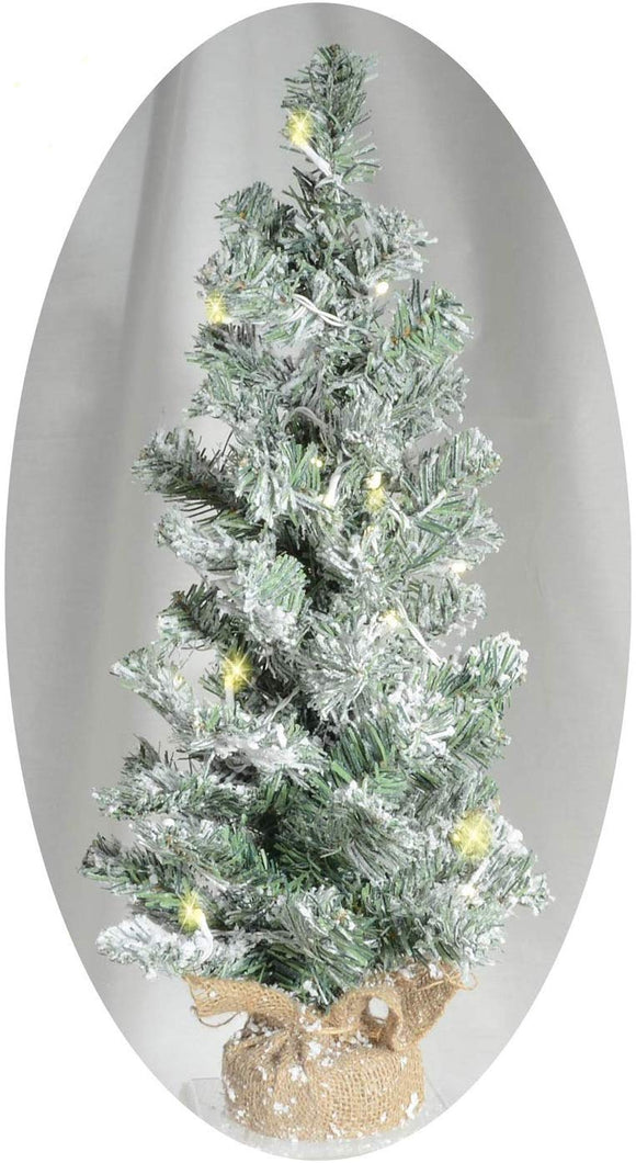 24 Inch Lighted Tabletop Christmas Balsam Pine Tree with Snow Flocked Tips and Burlap Wrapped Base, Battery Operated with Timer, Artificial Pine Tree