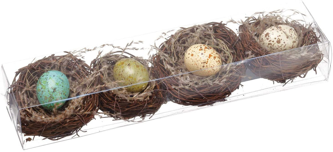 Set of 4 Bird's Nests with Eggs, Blue/Green, Cream and Green- Spring and Easter Décor, 2.75 Inches Wide Each