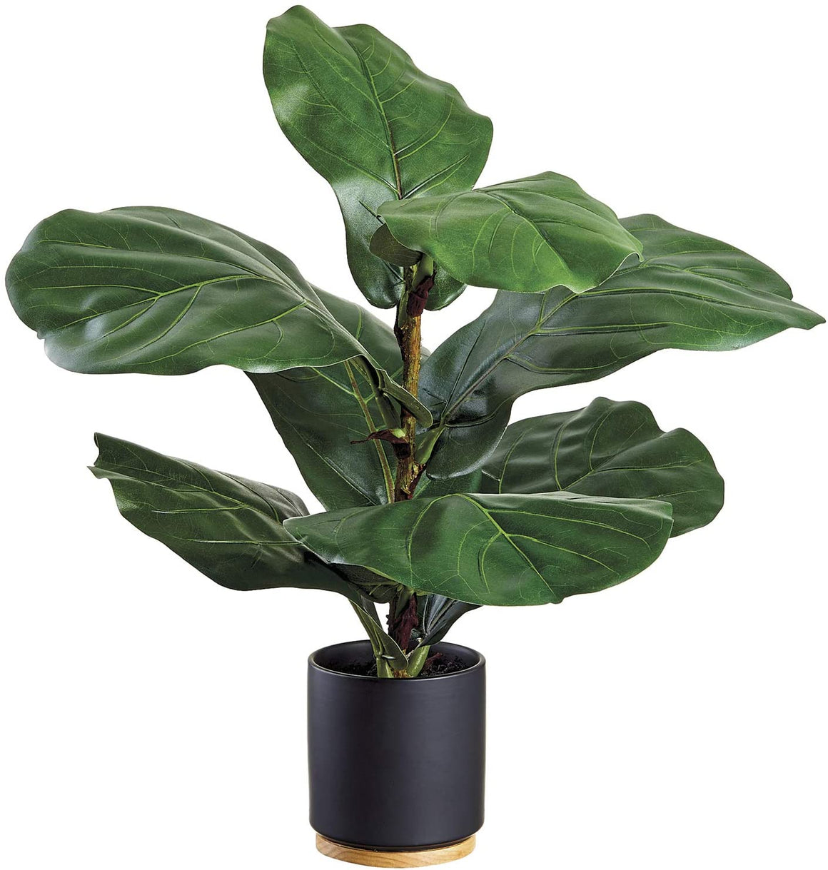 20 Inch Artificial Fiddle Leaf Plant in Black Ceramic and Wood Pot, Green Faux Broad Leaf Houseplant