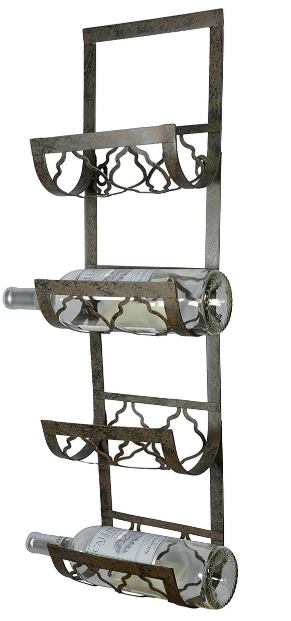 4 Bottle Wall Mounted Metal Wine Rack, Towel Rack