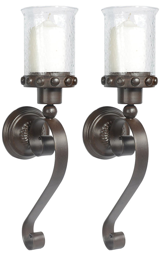 Set of 2 - Metal And Glass Candle Sconces, 20 Inches High x 6 Inches Deep x 4.75 Inches Wide Each