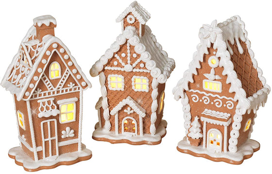 TenWaterloo Set of 3 Lighted Gingerbread White Frosting Houses in Clay Dough Resin with Frosted Snow Look, Battery Operated, 7.5 Inches High Each