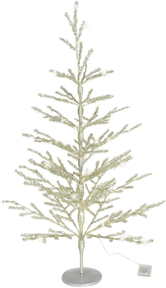 40 Inch Silver Lighted Tinsel Christmas Tree with Timer - 3.33 Foot Tinsel Pine Tree, Silver Tinsel Tree