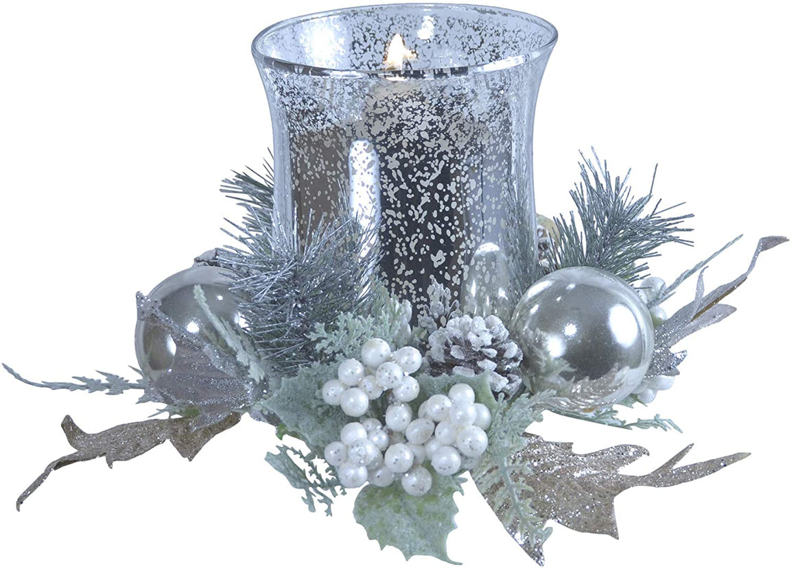 TenWaterloo Silver Glass Hurricane Centerpiece Pillar Candle Holder in White, Green and Silver, Artificial Floral Christmas Centerpiece 6.5 Inches High x 8.5 Inches Wide
