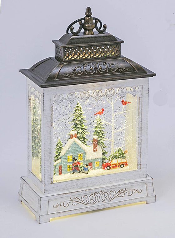 Snowy Scene 'Cutting Down the Christmas Tree' Christmas Musical Lighted Water Lantern, 9 Inches High, Battery Operated with Timer- 2 Modes, Christmas Snow Globe with Swirling Glittered Snow Effect