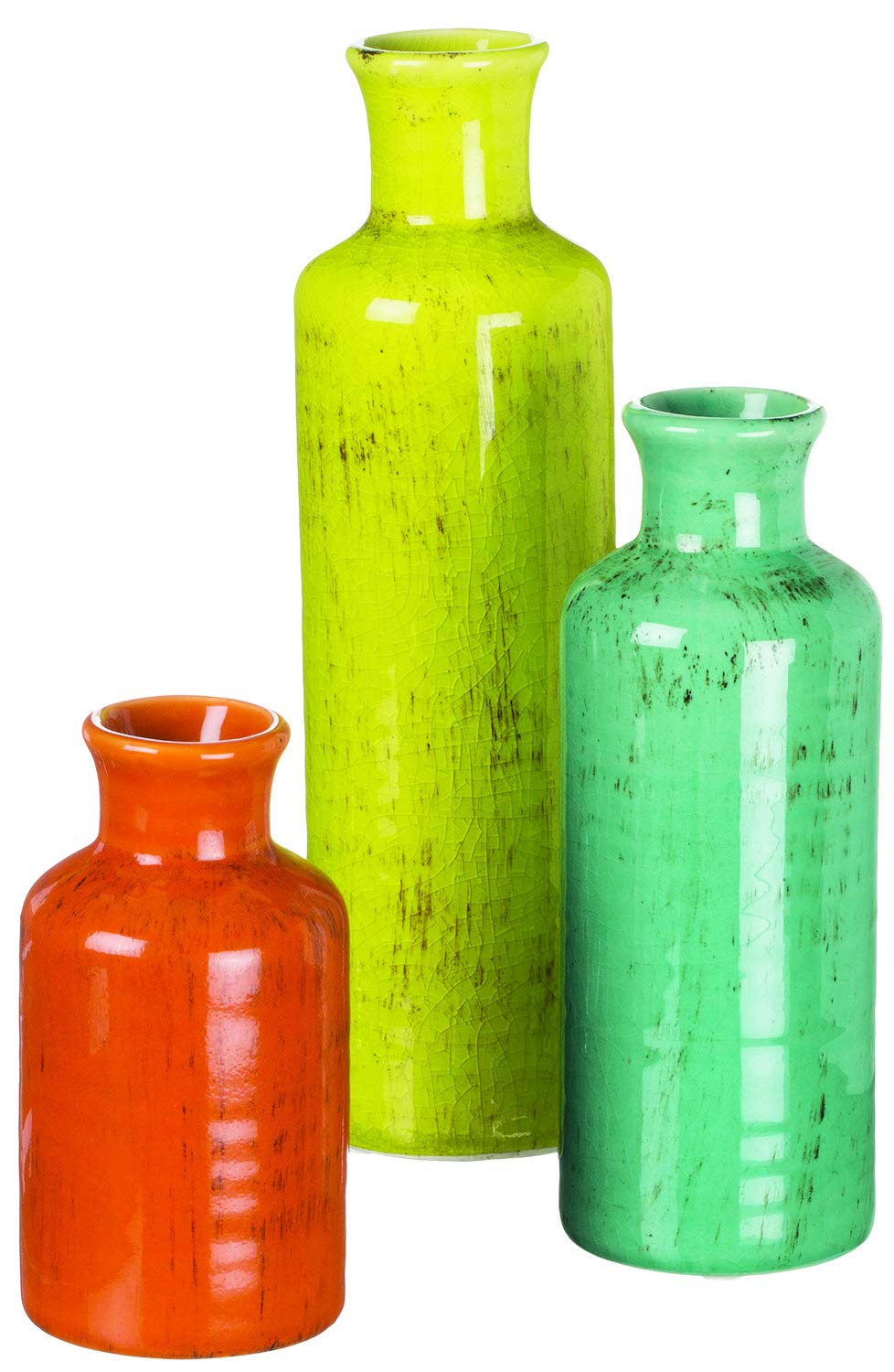 TenWaterloo Set of 3 Decorative Crackled Vases in Orange, Green, and Blue