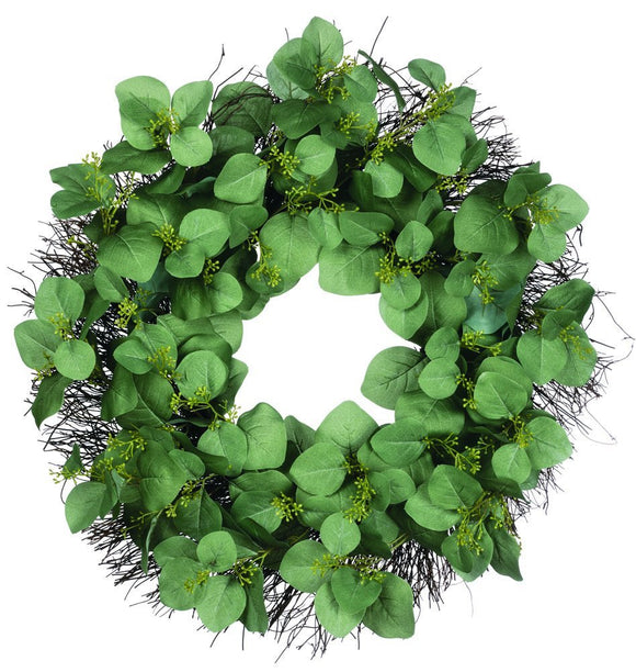 24 Inch Eucalyptus Wreath on Twig Base, Artificial Eucalyptus