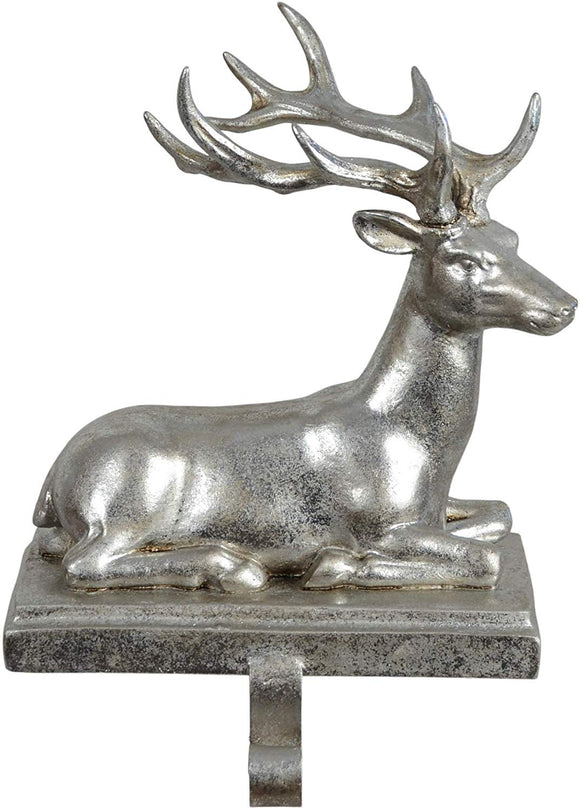 TenWaterloo Gilded Reindeer Stocking Holder in Burnished Silver