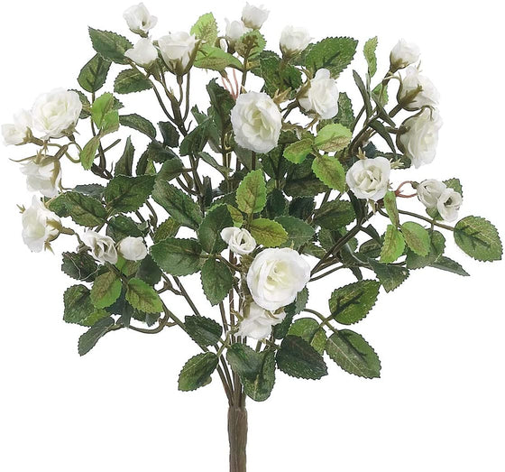 TenWaterloo Mini Rose Stem with White Mini Roses, One Stem, 10.5 Inches High,Artificial Floral, White Rose