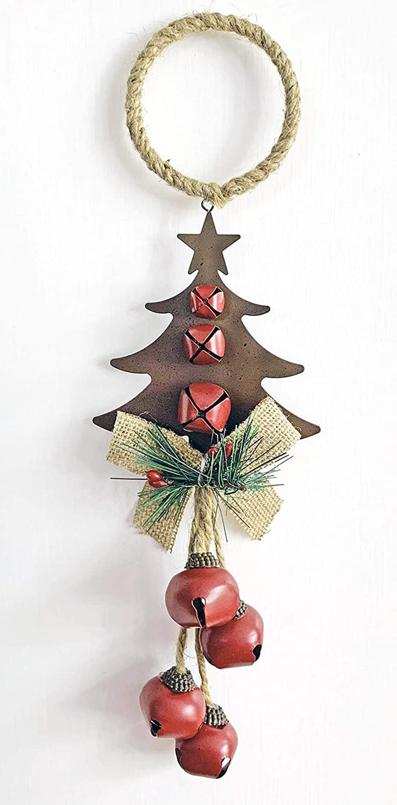 14 Inch Metal Tree Ornament Christmas Door Hanger with Bells