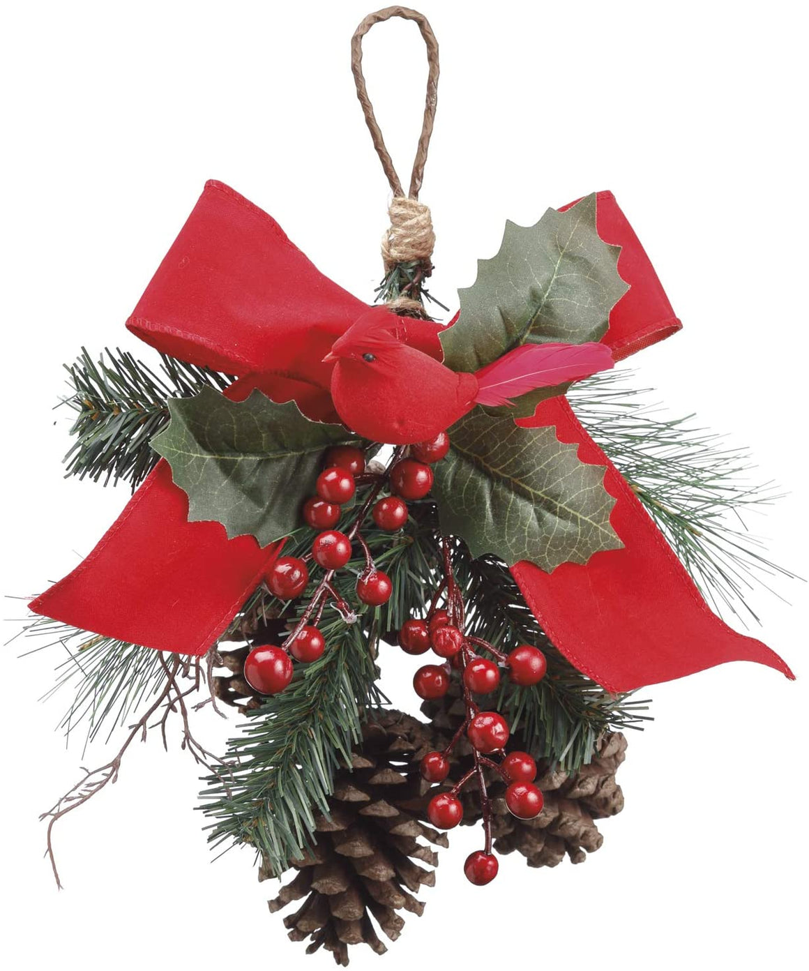 TenWaterloo 16 Inch Pine Cone and Cardinal Christmas Door Hanger with Red Bow, Artificial Pine