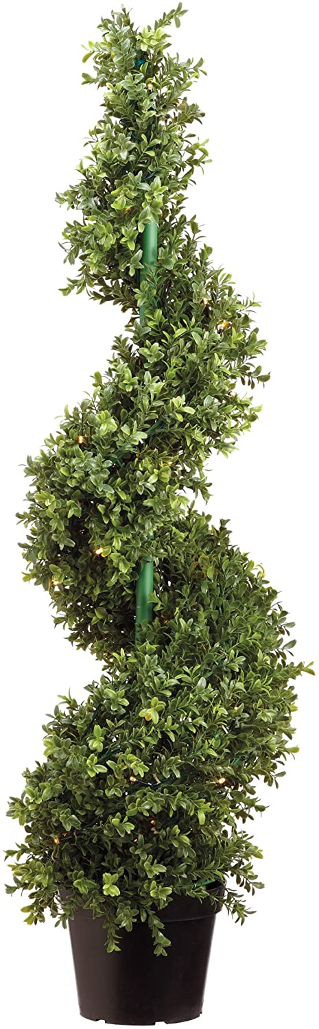 46 Inch Lighted Artificial Boxwood Spiral Topiary with UV Protection - Battery Operated with Timer - 70 LED Lights in Pot