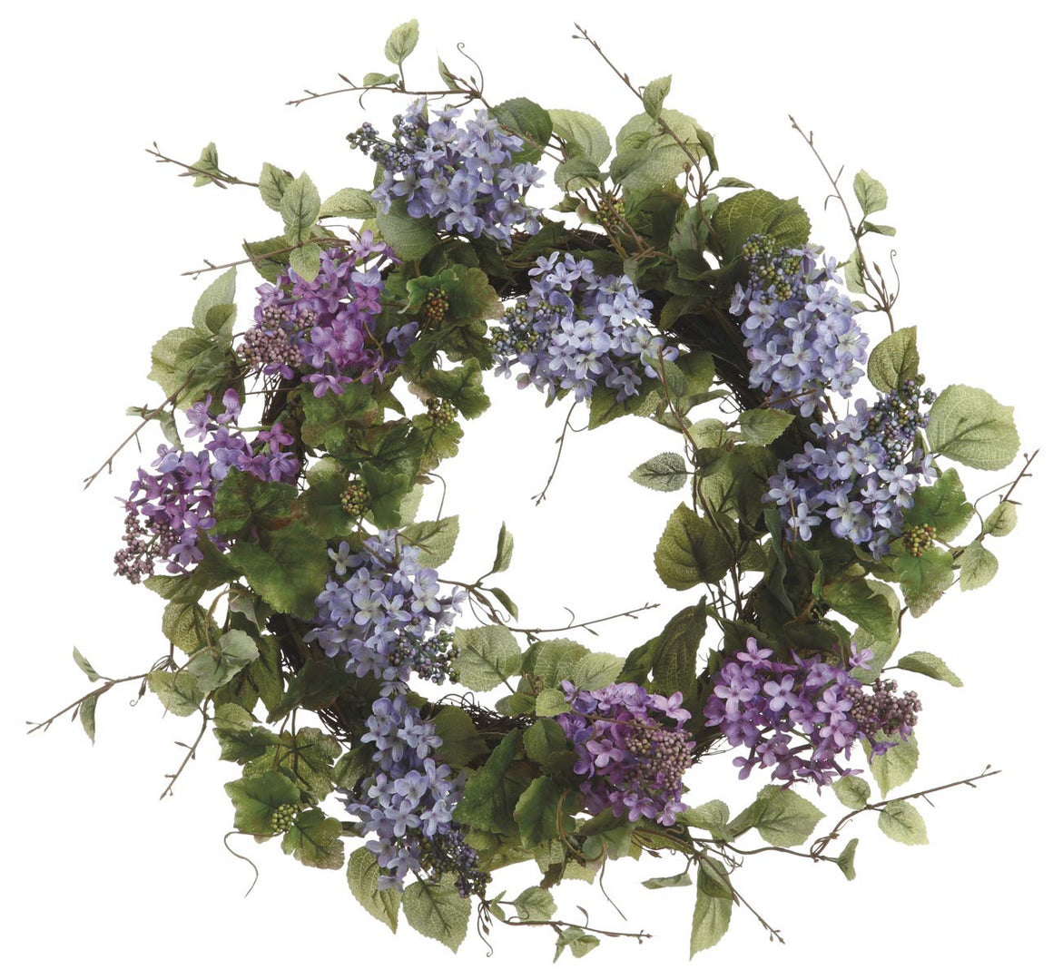 Ten Waterloo 24 Inch Artificial Lilac Blooms Wreath on a Natural Twig Base