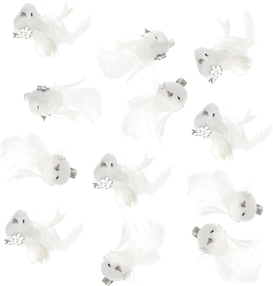 "12 Mini White Dove Birds with Clips - Box of 12 White 2"" Miniature Dove Clip Ornaments with Jewels - White Bird Christmas Ornaments"