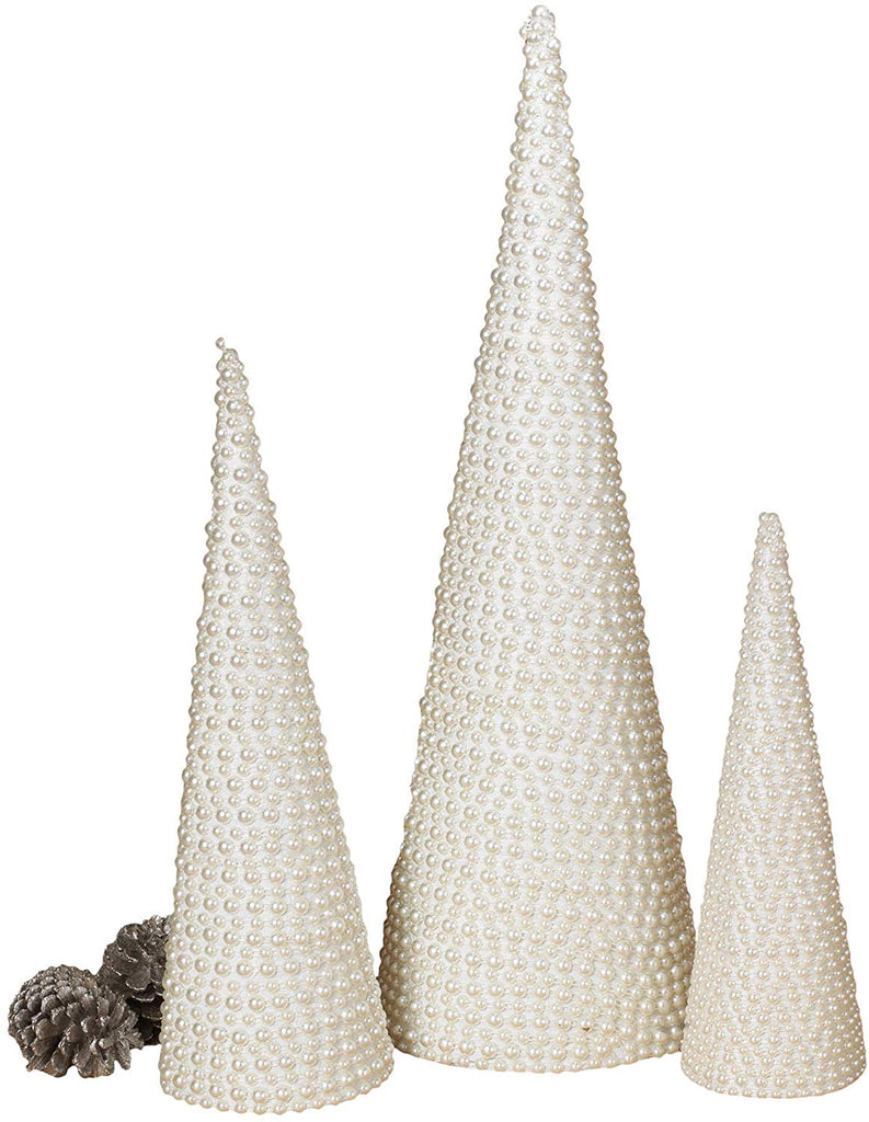 GER Set of 3 White Pearl Christmas Cone Trees, 12, 16 and 23 Inches High
