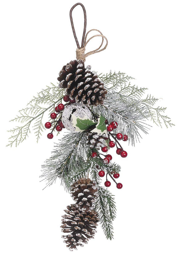 Ten Waterloo Christmas Door Hanger Swag 18 inches with Pine Cones, Holiday Bell and Frosted Snow