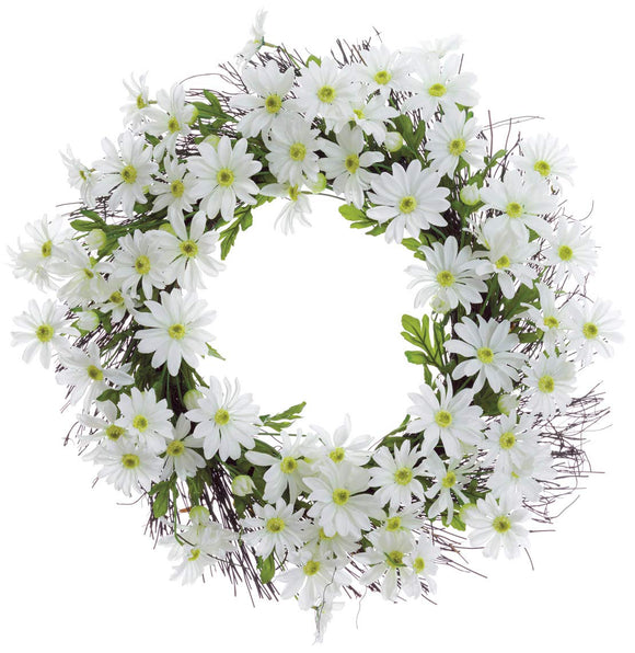 22 Inch White Daisy Spring Wreath, Artificial Floral on a Hand Tied Natural Spiraling Twig Wreath Base