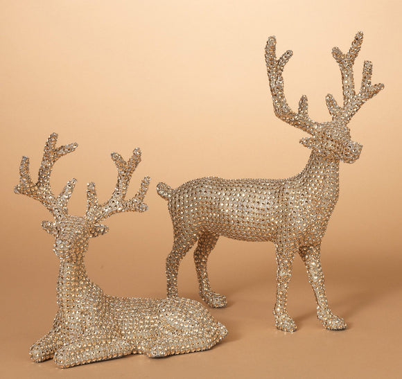 14.5 Inch High Set of 2 Gold Rhinestone Deer - Christmas Reindeer in Glittered Rhinestone