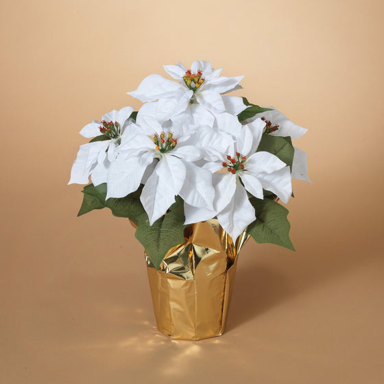 15 Inch Potted White Poinsettia Plant - Artificial Christmas Poinsettia Plant in Gold Foil Wrap