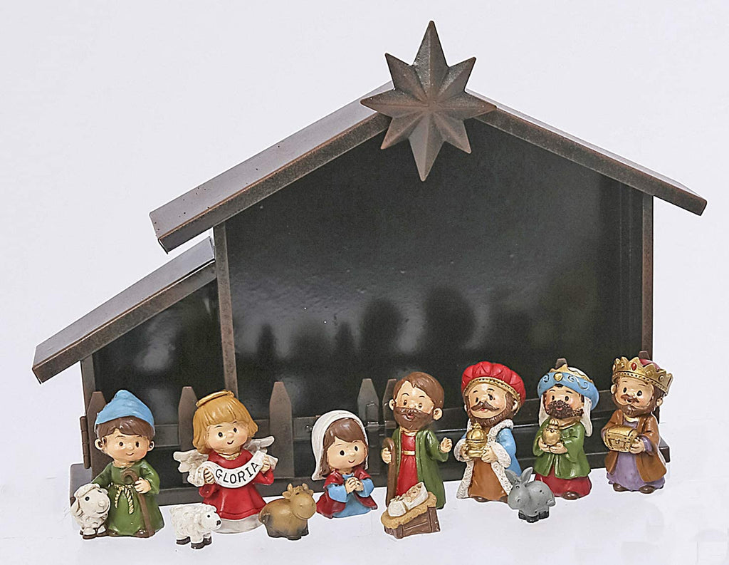 TenWaterloo Charming Christmas Nativity and Creche, Set of 11 Figurines, Gloria Angel Figurine, 12 Inches x 8 Inches