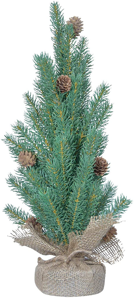 TenWaterloo 17 Inch High X 7 Inch Wide Tabletop Christmas Pine Tree with Pine Cones and Burlap Base, Artificial Pine