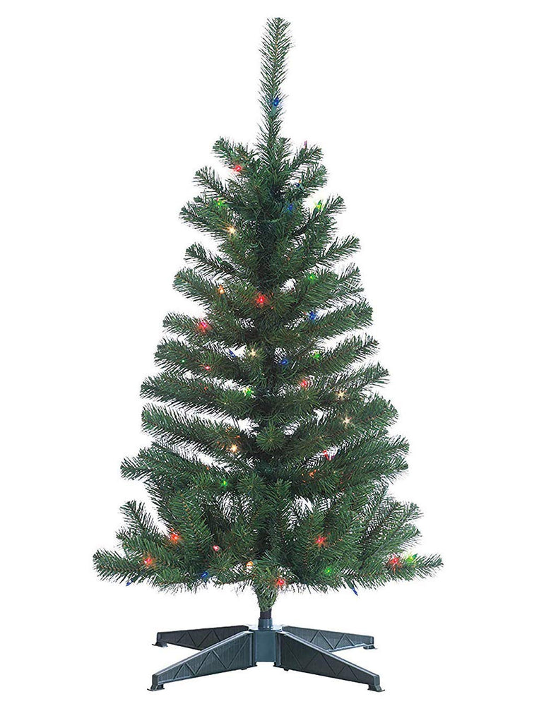 Ten Waterloo 3 Foot Pre-Lit Cumberland Pine Christmas Tree with Multicolored Lights, Battery Operated with Timer