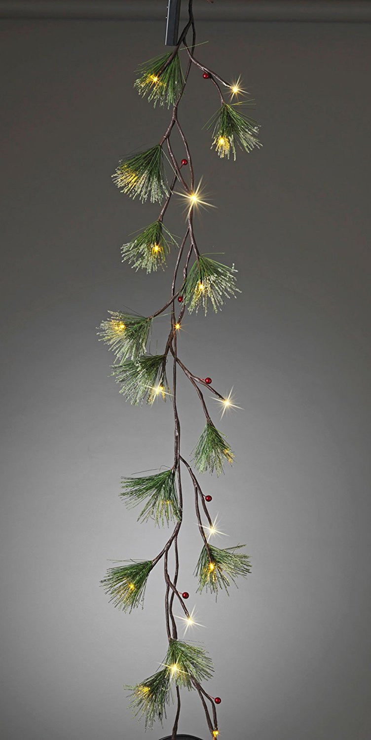 6 Foot Battery Operated Frosted Christmas Pine Garland with Clear LED Lights and Timer
