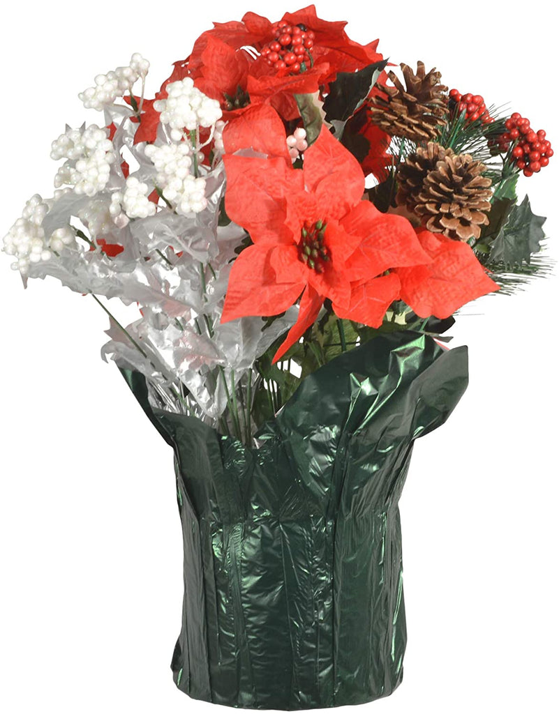 TenWaterloo 18 Inch High Outdoor Artificial Christmas Poinsettia Arrangement- with Pine Cones, Red, Silver and White