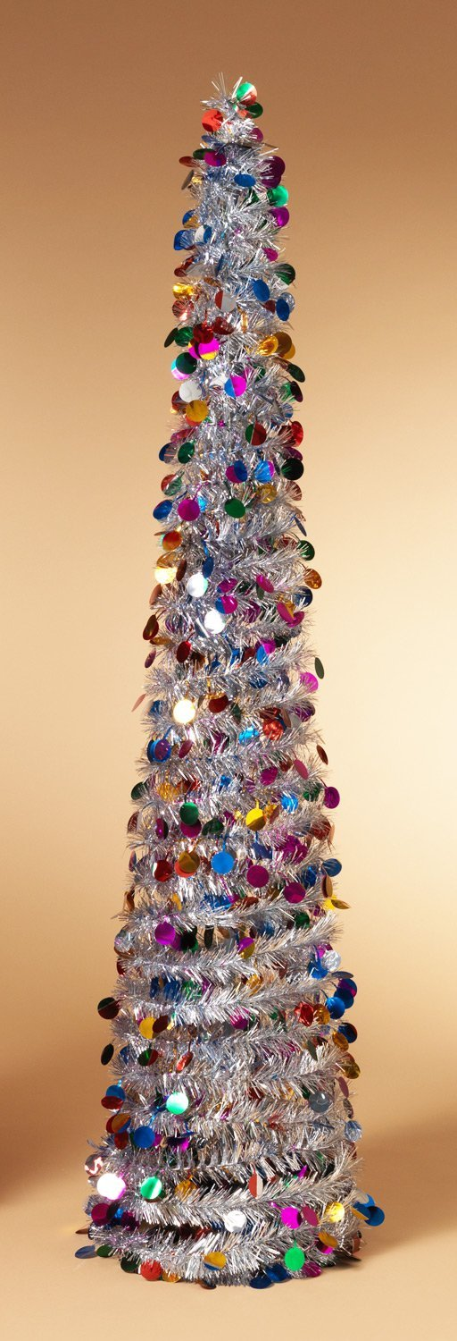 Pop Up Tinsel Tree - Silver with Multi-Colored Circles Christmas ...