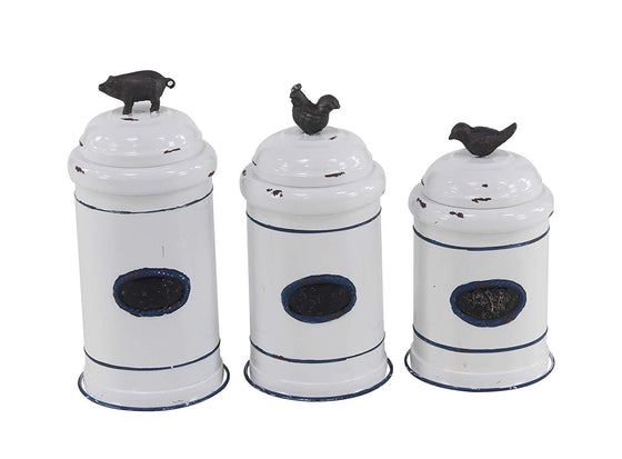 Set of 3 White Enameled Metal Kitchen Storage Jars - 11 Inch, 12 Inch and 13 Inches High Farmhouse Style - Rooster, Bird, Pig
