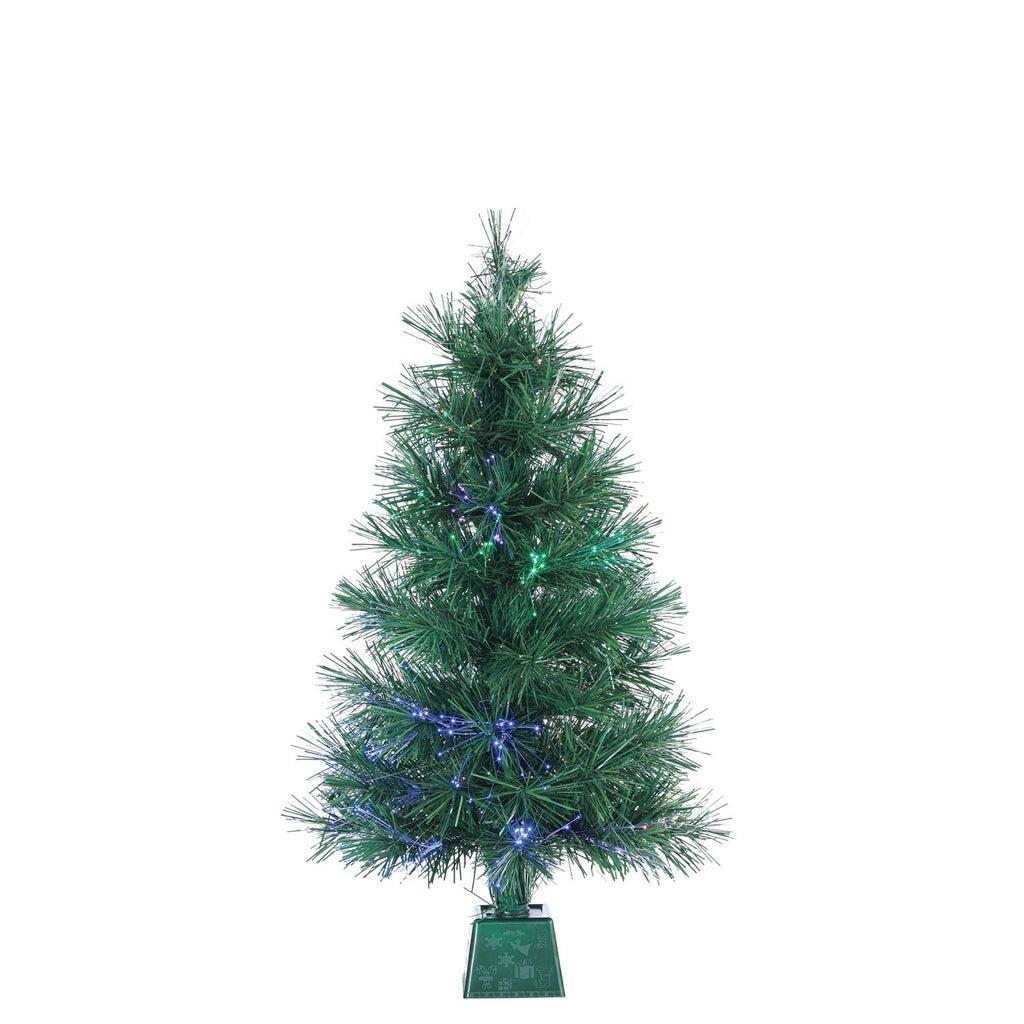 Fiber Optic Battery Operated Christmas Pine Tree With Base 2 Feet High - Artificial Christmas Tree