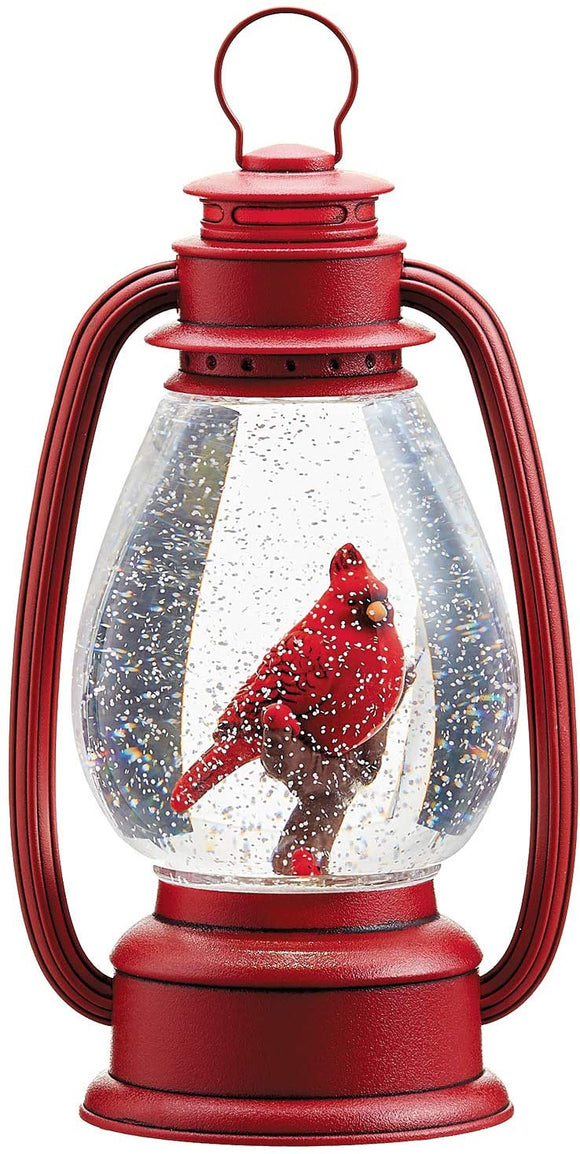 TenWaterloo 9.5 Inch Christmas Snow Globe with Cardinal, Bird Battery Operated, Lighted Water Lantern with Swirling Snow