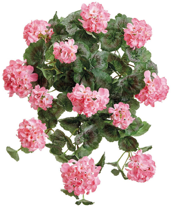 TenWaterloo 22 Inch High UV Protected Artificial Pink Geranium Hanging Bush, Pink