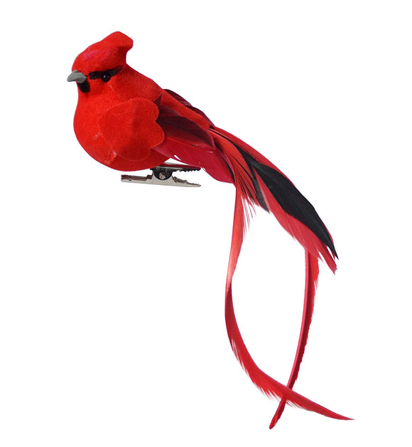 TenWaterloo Cardinal X6 Set of 6 Red Cardinal Birds with Clips 5 Inches High with Tail Feathers- Red Cardinal Bird Christmas Ornaments