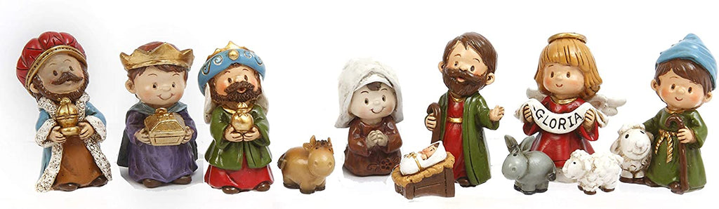 TenWaterloo Charming Christmas Nativity Set of 11 Figurines, Gloria Angel Figurine, 3/4 inch to 2.5 Inches high
