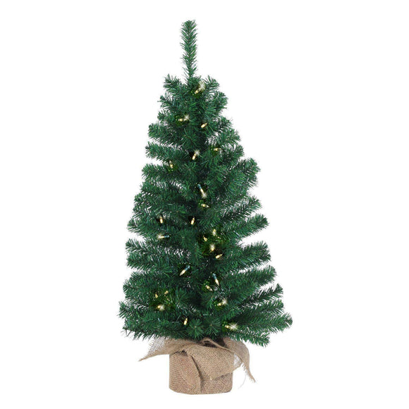 Ten Waterloo Lighted Christmas Pine Tree 36 Inches High with Burlap Wrapped Base- Battery Operated with Timer Artificial Christmas Pine Tree with LED Lights