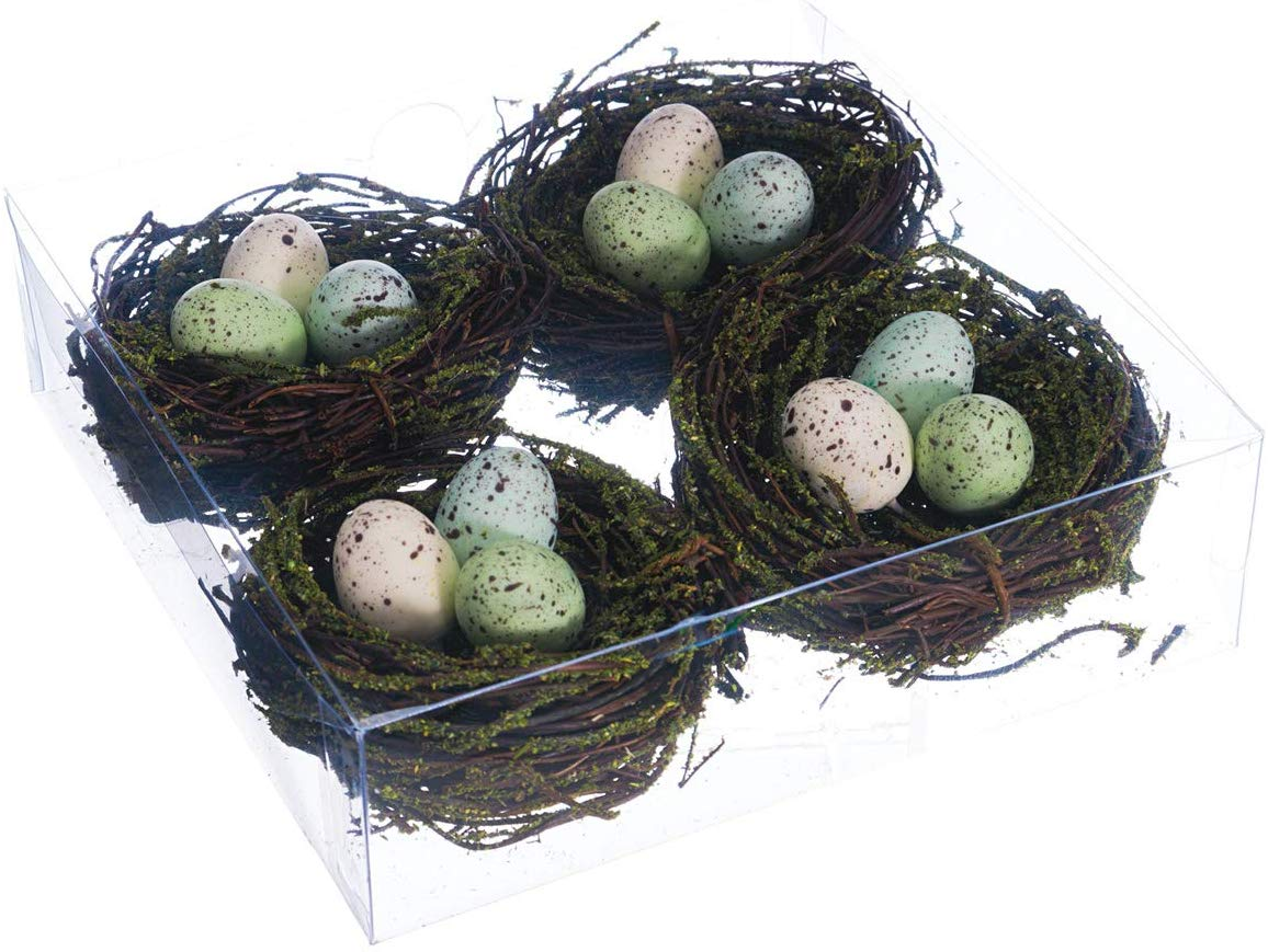 TenWaterloo Set of 4 Decorative Bird's Nests with Eggs, 3 Inches Wide