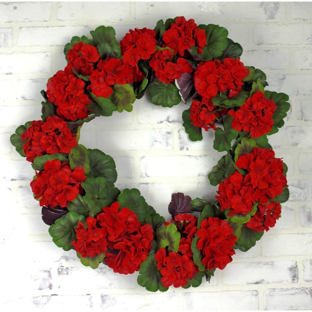 DE 22 Inch Artificial Red Geranium Wreath with Deep Red Flower Blossoms and Rich Green Leaves