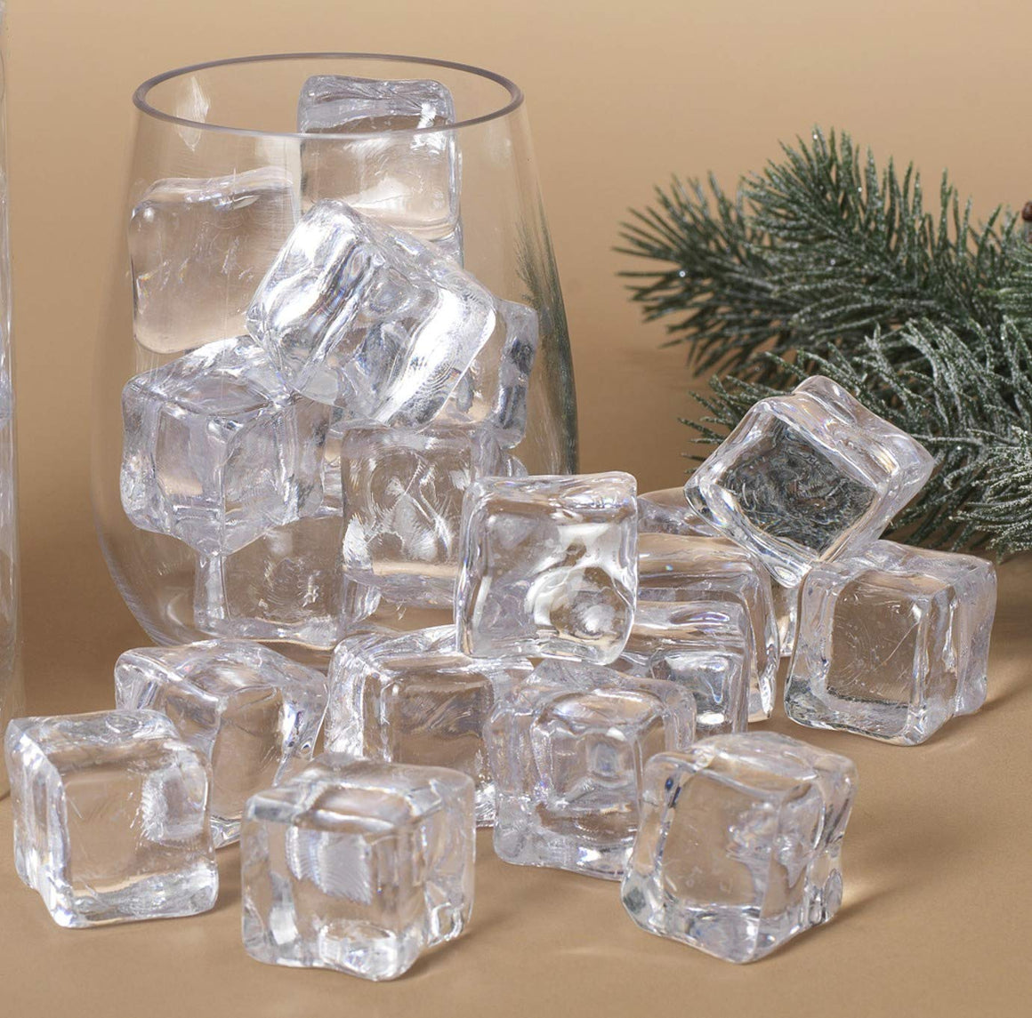 Clear Acrylic Ice Cubes 18 Pieces, 1-1/4 Inches, Smooth Finish Glass Look No Bubbles, Photo Prop, Vase Filler, Christmas Decor