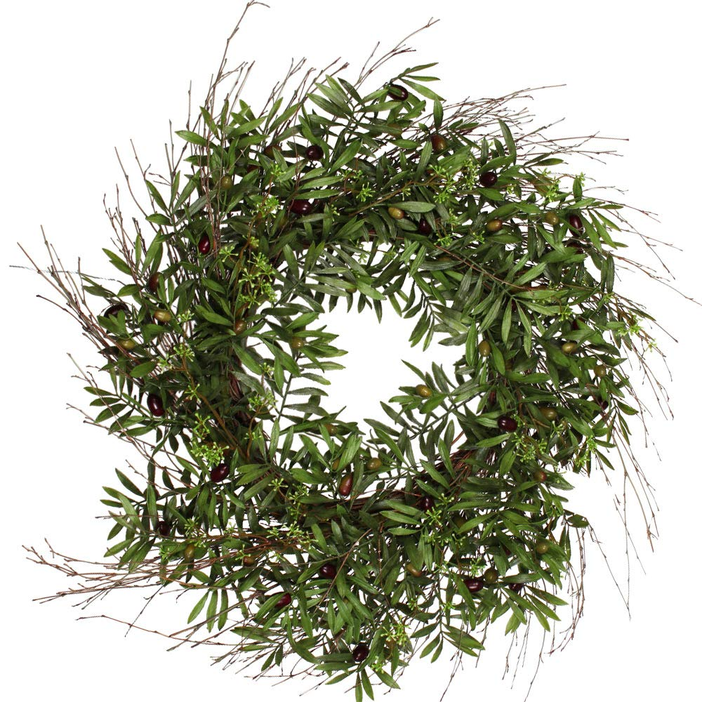 Ten Waterloo 30 Inch Olive Wreath on a Natural Twig Base, Artificial Olives and Leaves