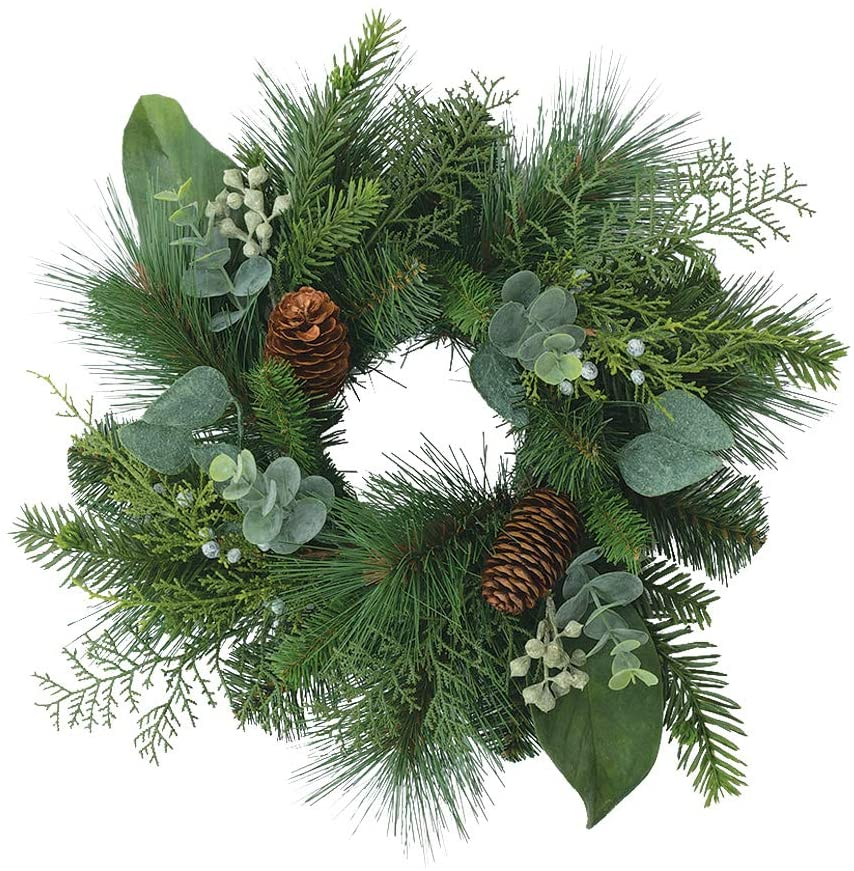 TenWaterloo 12 Inch Artificial Mixed Pine Candle Ring and Wreath- Christmas Ring with Pine Cones and Eucalyptus