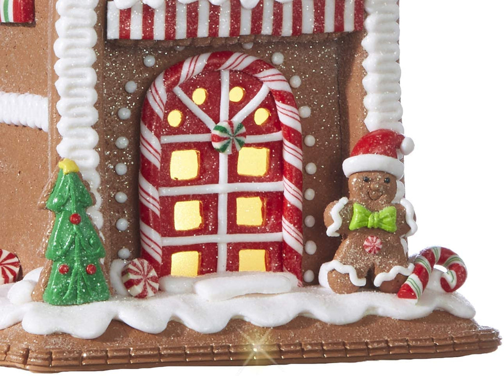 TenWaterloo Lighted Gingerbread House in Clay Dough Resin with Frosted Snow Look, Battery Operated, 9 inches high x 5.5 Inches Wide