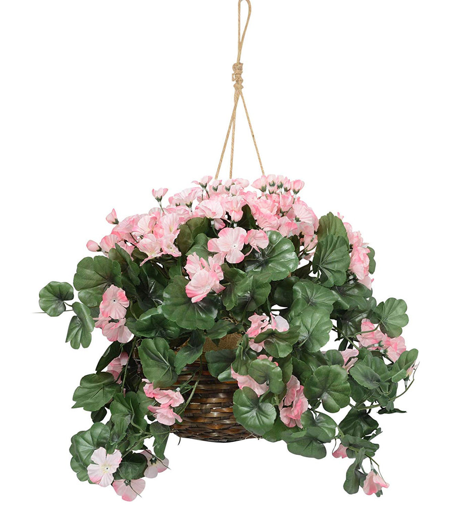 18 Inches High Hanging Pink Geranium Flowering Plant with Trailing Blooms in Wicker Basket, Artificial Floral