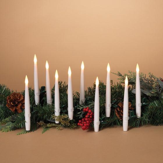 Set of 10 Christmas Candles With Clips - 6 Inches High Battery Operated LED Candles with Remote