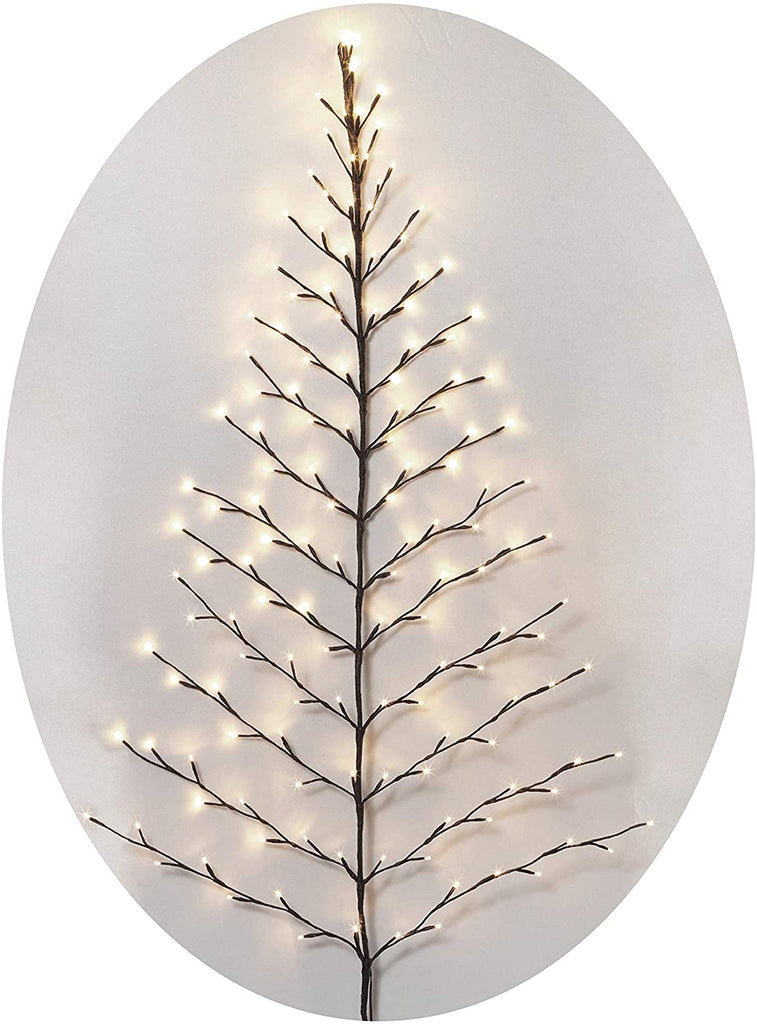 TenWaterloo Lighted Christmas Wall Tree - Indoor/Outdoor LED 5 Foot High - Cool White Lights - Battery Operated with Timer