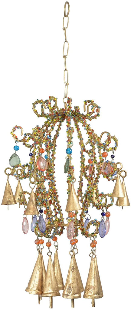 TenWaterloo Beaded Gold Metal Chandelier Wind Chime 20 Inches x 8 inches
