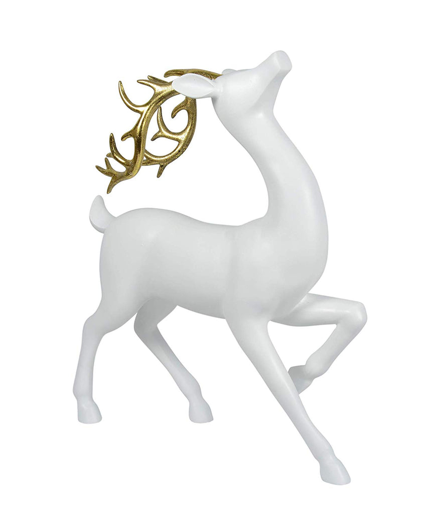 DE Elegant White Christmas Deer - Sculpted with Gold Antlers - 14.5 Inches High x 12 Inches
